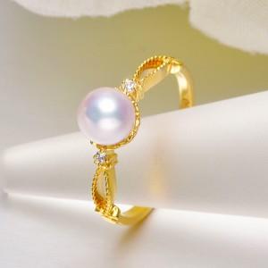 Nhẫn vàng 18k ngọc trai Akoya 6-7mm đính Kim cương Michelia