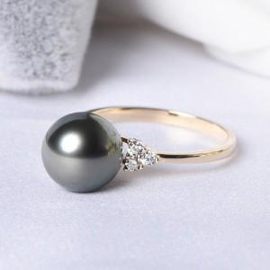 Nhẫn vàng 18k ngọc trai Tahiti 9-10mm đính Kim cương Petunia