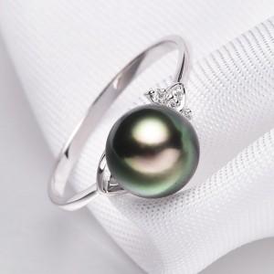 Nhẫn vàng 18k ngọc trai Tahiti 8-9mm đính Kim cương Lou Snearly