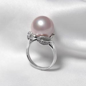 Nhẫn vàng trắng 18k ngọc trai thật Leaf 10-11mm đính Kim cương