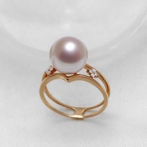 Nhẫn vàng hồng 18k ngọc trai đính kim cương Dota