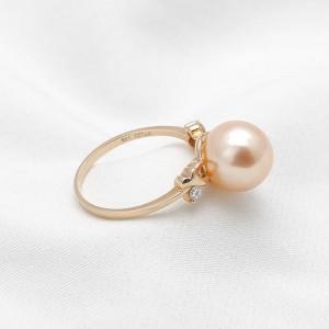 Nhẫn vàng hồng 18k ngọc trai đính Kim cương Orange Charming