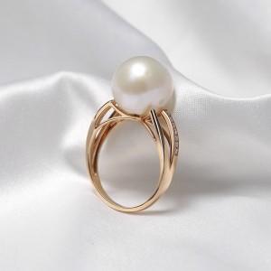 Nhẫn vàng hồng 18k ngọc trai thật đính Kim cương Lavie 9-10mm
