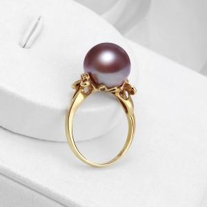 Nhẫn vàng 18k ngọc trai thật 9-10mm Gira đính kim cương