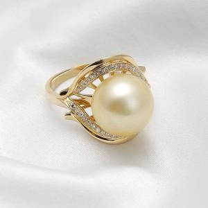 Nhẫn vàng 18k ngọc trai South Sea Jade 10-11mm đính Kim cương