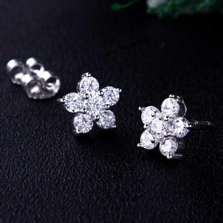 Bông tai bạc Sparkling Flowers
