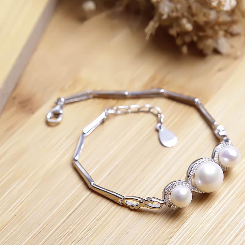 Lắc tay bạc Alivia Pearl