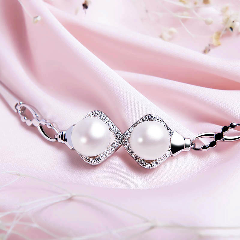 Lắc tay bạc Double Pearls