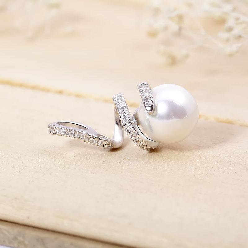 Mặt dây chuyền bạc Pearl Curved