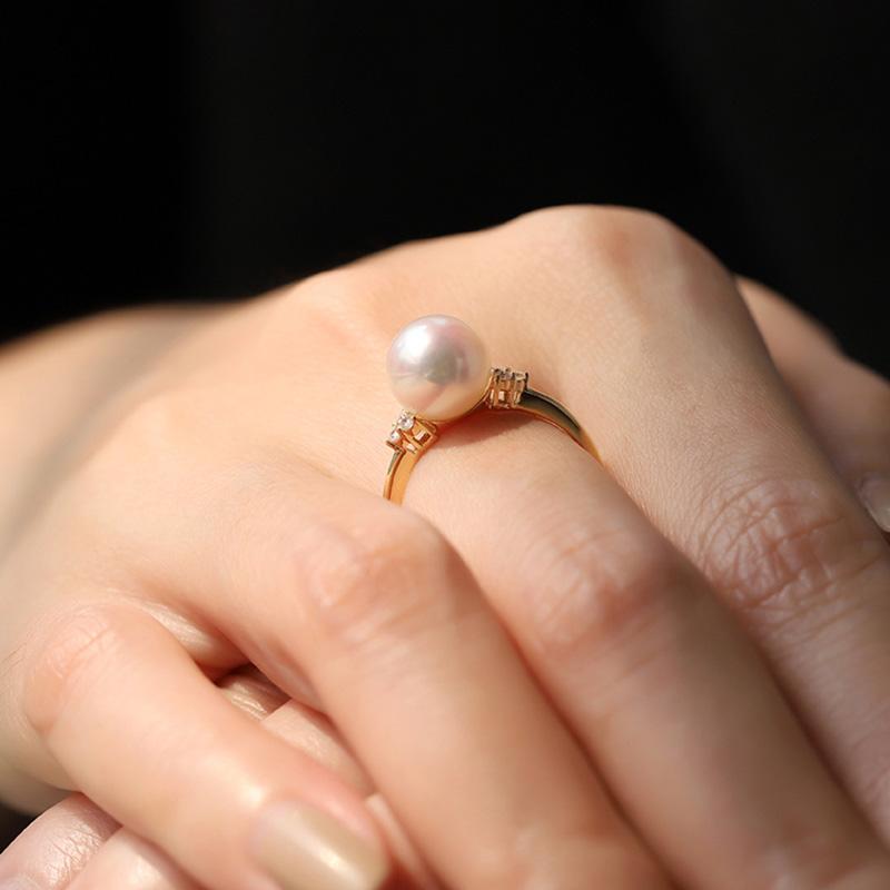 Nhẫn vàng 18k ngọc trai biển Akoya 10-11mm Climbing rose