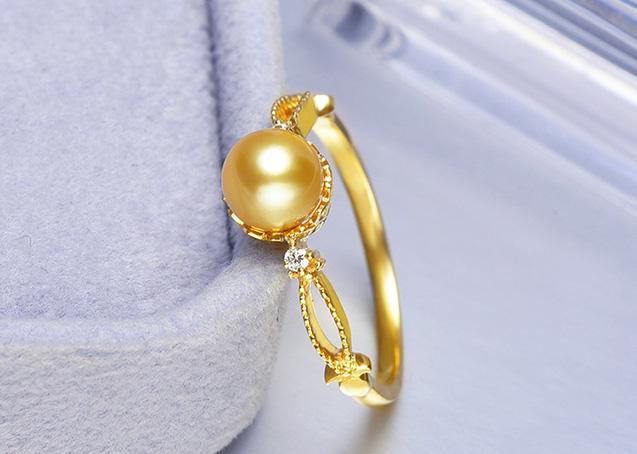 Nhẫn vàng 18k ngọc trai biển Akoya 6-7mm Michelia