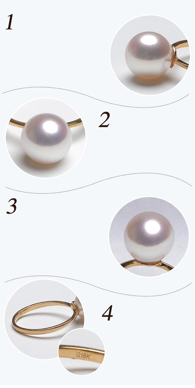 Nhẫn vàng 18k ngọc trai biển Akoya-8-9mm Rose Ly