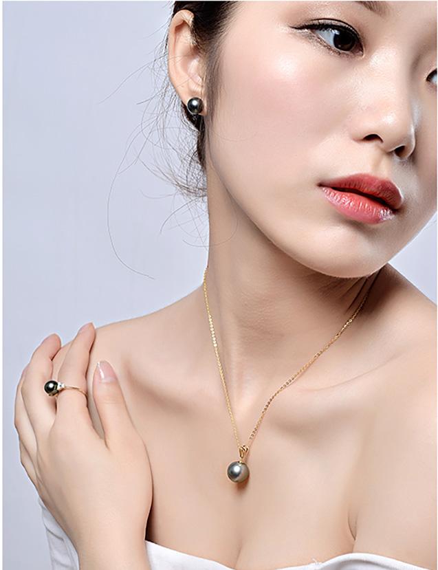 Nhẫn vàng 18k ngọc trai biển Tahiti 9-10mm Petunia