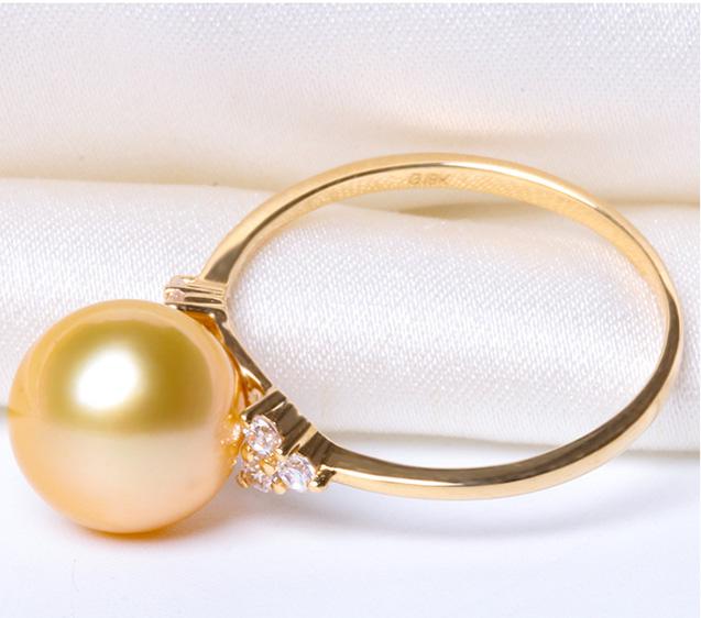 Nhẫn vàng 18k ngọc trai biển South Sea 9-10mm Pansy