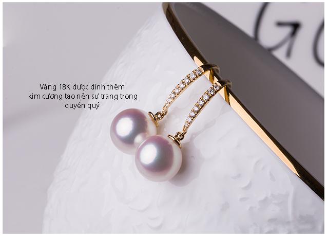Bông tai vàng 18k đính kim cương ngọc trai Akoya 10-11mm Nozy