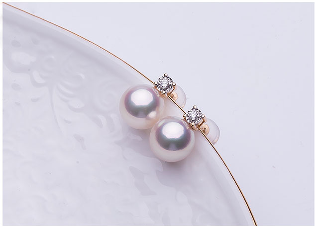 Bông tai vàng 18k ngọc trai biển Akoya đính kim cương 7,5-9 mm Tio