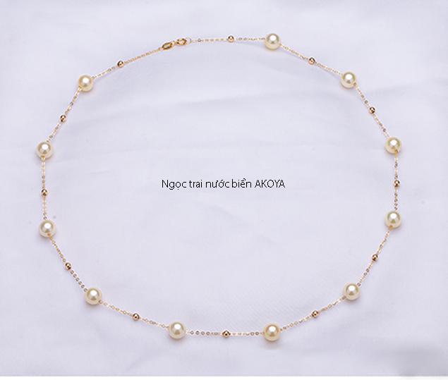 Dây chuyền vàng 18k ngọc trai Akoya 6-6,5mm Mum