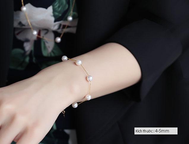 Lắc tay vàng 18k ngọc trai biển Akoya 4-5mm Sunshine