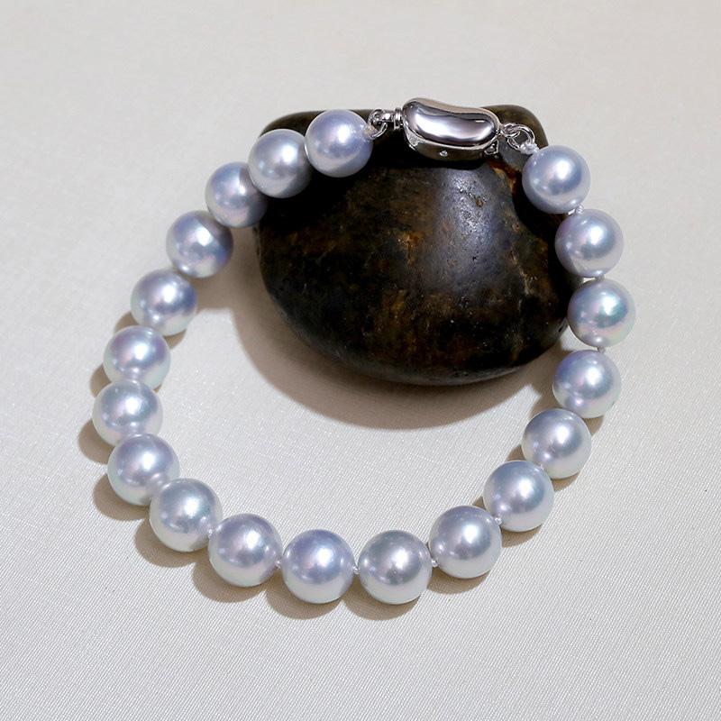 Lắc tay bạc ngọc trai biển Akoya xám 8-9mm Xiem