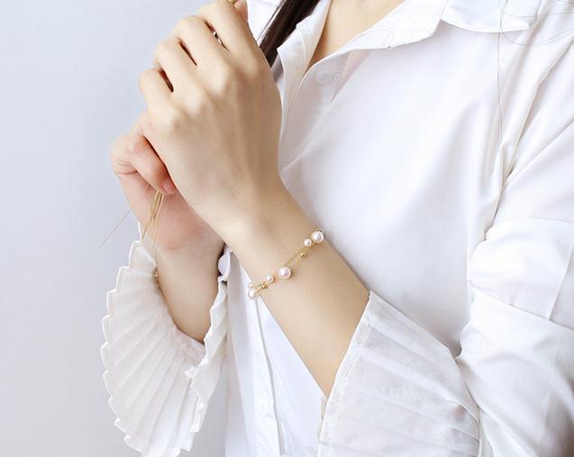 Lắc tay vàng 18k ngọc trai biển Akoya 4.5-7.5mm Dollar