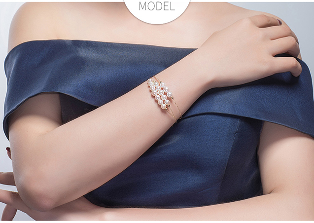Lắc tay vàng 18k ngọc trai biển Akoya 6.5-7.5mm Sunlinght