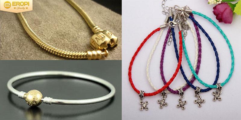 Dây đeo của vòng Pandora chủ yếu được làm là từ bạc Ý 925, từ vàng và từ da.