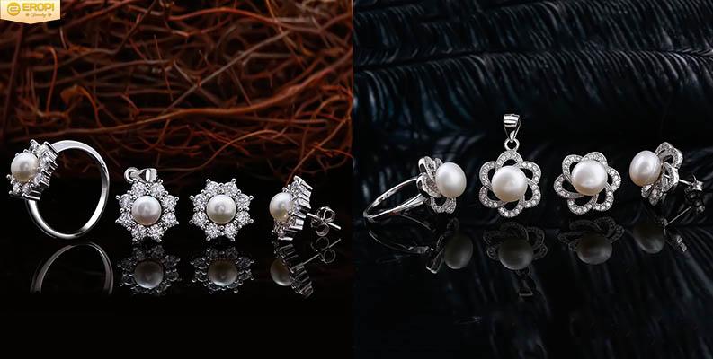 Bộ trang sức bạc Ý S925 kết hợp ngọc trai cao cấp.
