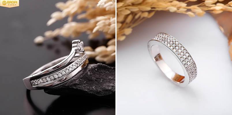 Nhẫn bạc Ý S925 đính đá Cubic Zicronia.