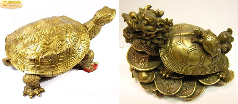 Linh vật Rùa đứng trên đồng tiền giúp gia chủ tăng tiền bạc, của cải.