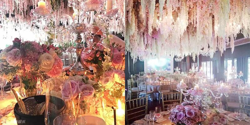 Không gian tiệc cưới nổi bật với tông màu hồng dịu dàng.