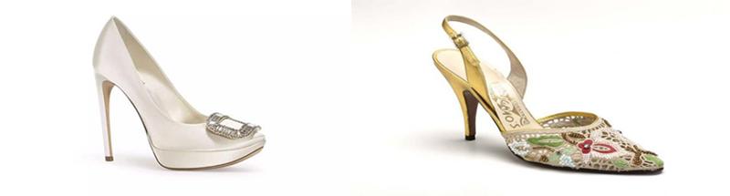 đôi giày satin của Roger Vivier ( 10.000 USD) và đôi giày thêu thủ công của Salvatore Ferragamo ( cả triệu đô ) ( ảnh sưu tầm ).