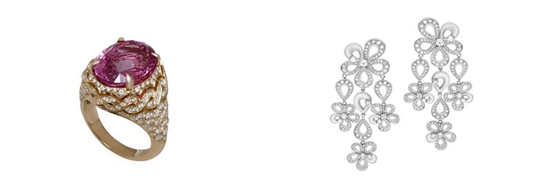 Chiếc nhẫn kim cương 12 carat, với viên hồng ngọc ở giữa tượng trưng cho tình yêu bền chặt, lâu dài