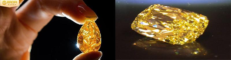 Viên kim cương cam có sắc đậm hơn so với kim cương vàng.