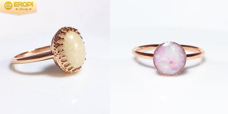 Đó là những mặt nhẫn gắn đá quý làm từ sữa độc đáo.