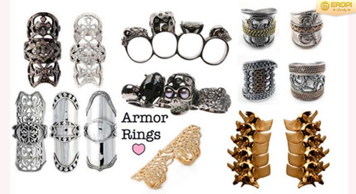 Nhẫn khớp – Armor ring nổi tiếng về sự cá tính và bắt mắt.