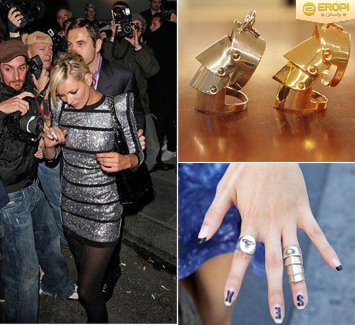 Kate Moss cũng là tín đồ của dòng nhẫn khớp - Armor ring này.
