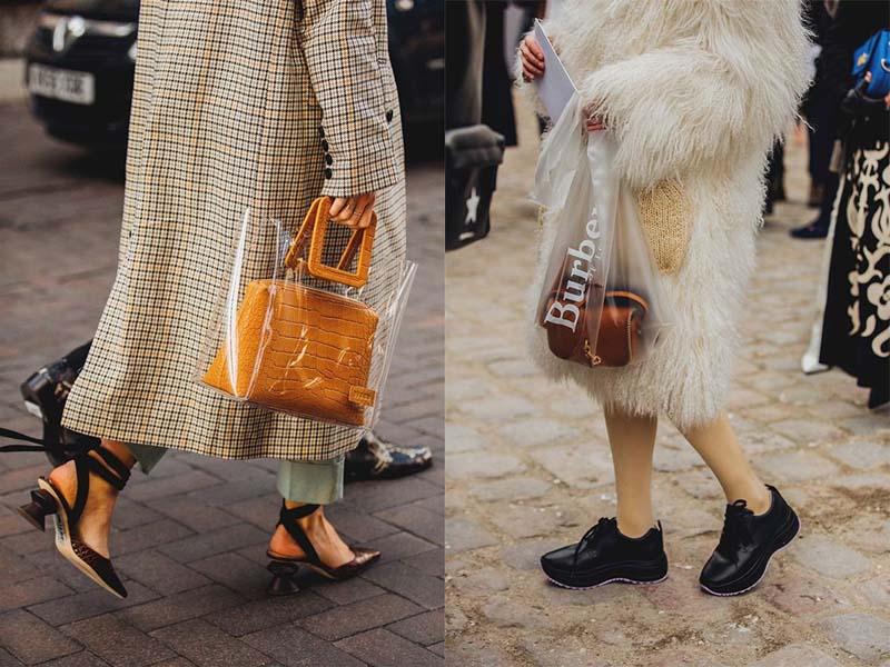 Những chiếc túi da, vải được đặt trong những chiếc túi nylon cao cấp tạo phong cách sành điệu.